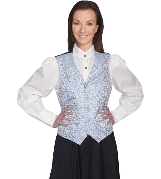 Rangewear Victorian Style Rose Vine Vest in Grey by Scully Leather