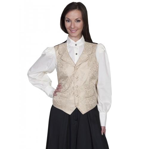 Victorian Style Rose Vine Vest in Tan