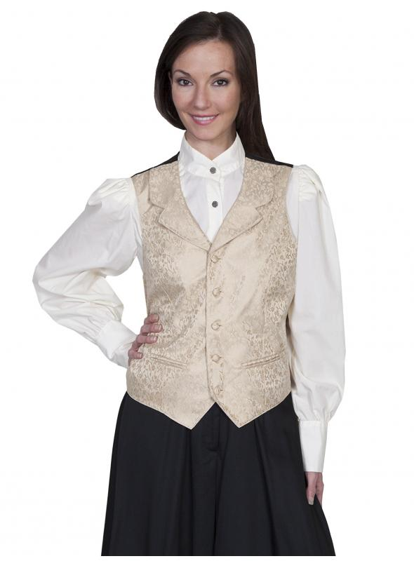Rangewear Victorian Style Rose Vine Vest in Tan by Scully Leather