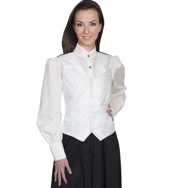 Rangewear Victorian Style Stripe Vine Vest in Ivory by Scully Leather
