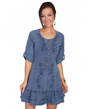 Vintage Style Embroidered Dress in Dark Blue by Scully Leather