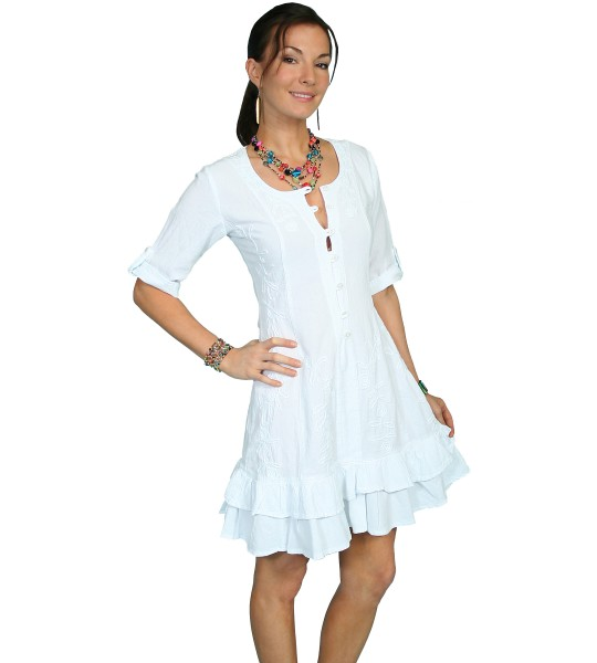 Vintage Style Embroidered Dress in White by Scully Leather