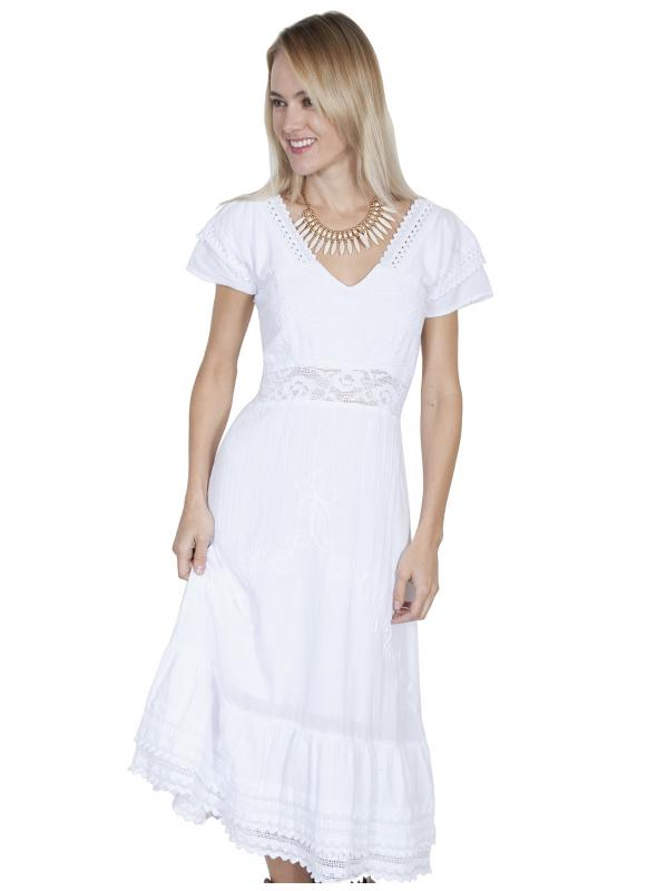 Bohemian Style Crochet Wedding Dress in White by Scully Leather