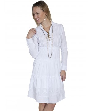 Bohemian Style Cotton Dress in White by Scully Leather