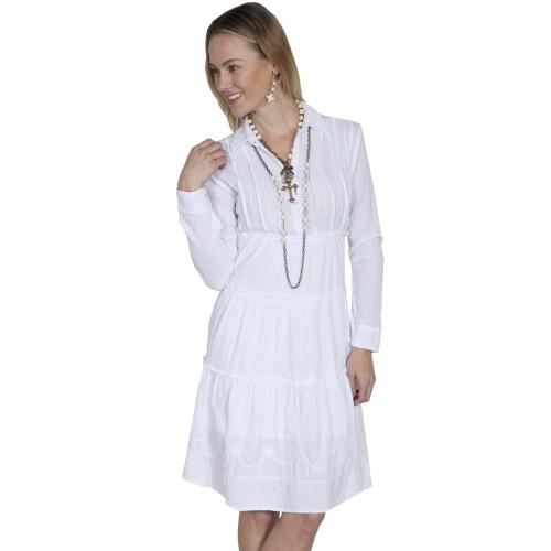 Bohemian Style Cotton Dress in White