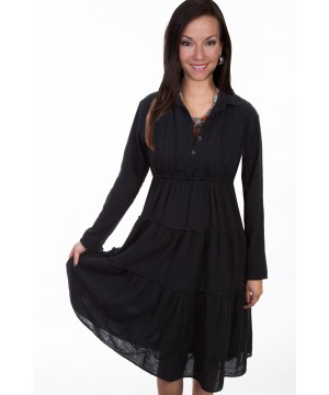 Bohemian Style Cotton Dress in Black by Scully Leather