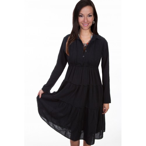 Bohemian Style Cotton Dress in Black