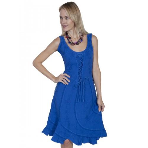 Western Romance Saloon Dress in Dazzling Blue