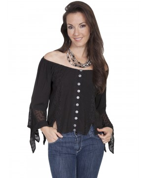 Honey Creek Saloon Off Shoulder Button Up Blouse in Black by Scully Leather