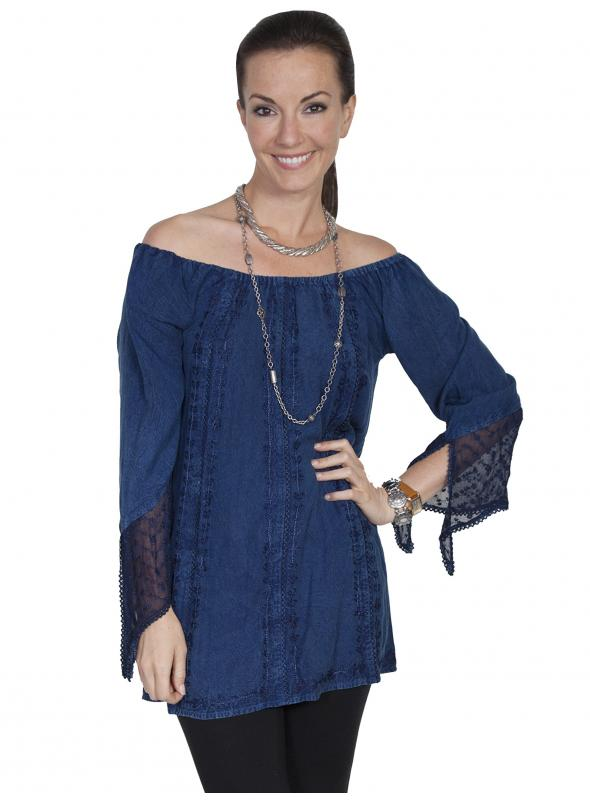 Honey Creek Kansas' Wind Off Shoulder Blouse in Denim by Scully Leather