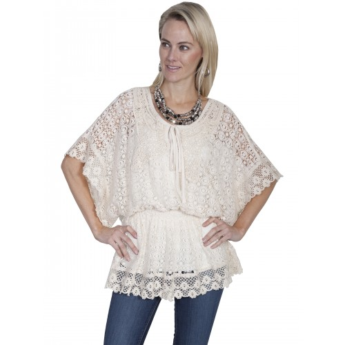 Romantic Vintage Inspired Crochet Top in Natural
