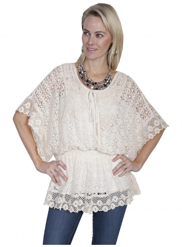 Honey Creek Romantic Vintage Inspired Crochet Top in Natural by Scully Leather