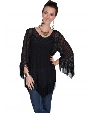 Honey Creek Vintage Inspired Polka Dot Fringe Blouse in Black by Scully Leather