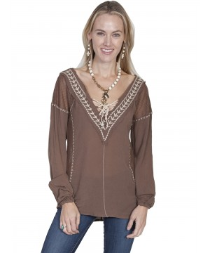 Honey Creek West Canyon Embroidered Blouse in Brown by Scully Leather