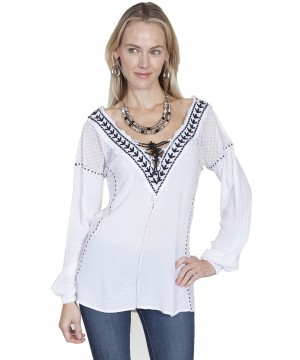 Honey Creek West Canyon Embroidered Blouse in White by Scully Leather