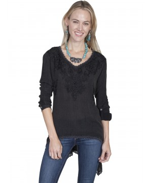 Honey Creek Farmhouse V-Neck Black Pullover by Scully Leather