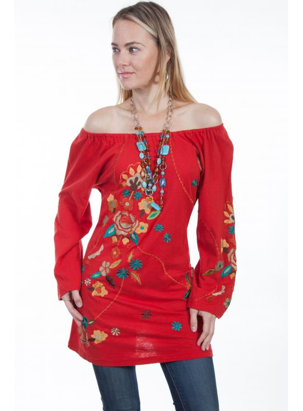 Honey Creek Desert Rose Cotton Tunic in Red by Scully Leather