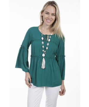 Honey Creek Emerald Sunset Flounce Blouse in Green by Scully Leather
