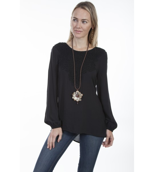 Honey Creek Barn Swallow Tunic in Black by Scully Leather