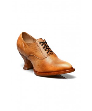 Victorian Style Leather Lace-Up Shoes in Natural Rustic