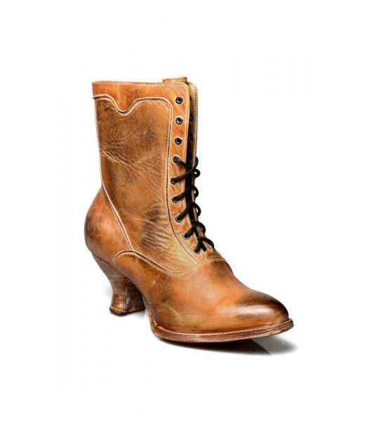 Eleanor Victorian Style Leather Ankle Boots in Tan Rustic by Oak Tree Farms