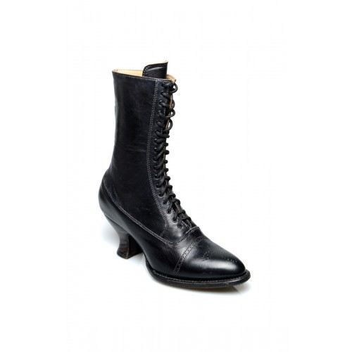 Victorian Mid-Calf Leather Boots in Black Rustic