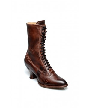 Victorian Mid-Calf Leather Boots in Teak Rustic by Oak Tree Farms