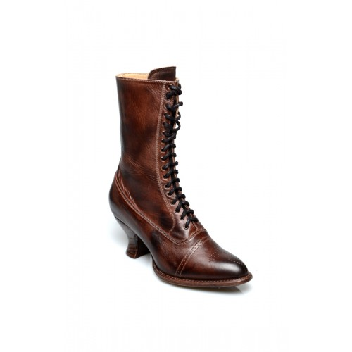 Victorian Mid-Calf Leather Boots in Teak Rustic