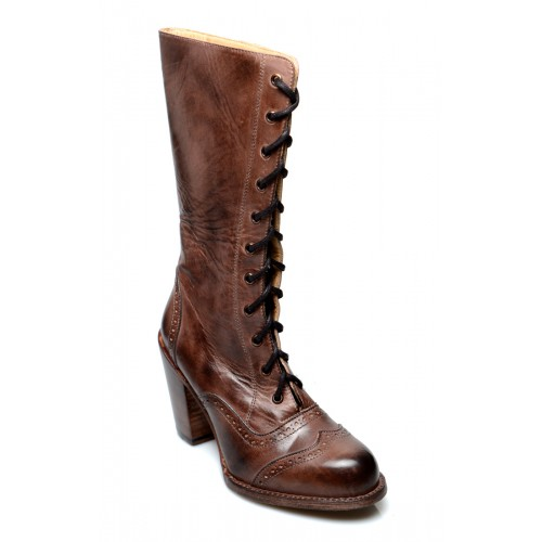 Victorian Inspired Mid-Calf Leather Boots in Teak Rustic