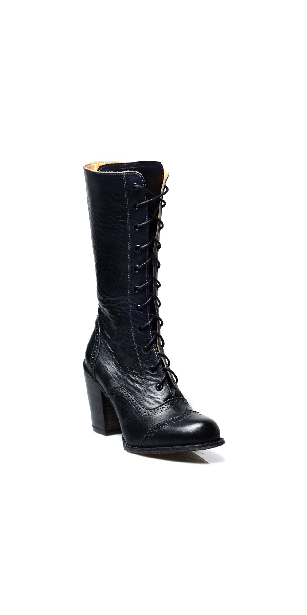 b28b2a61058c ... Ariana Victorian Inspired Mid-Calf Leather Boots in Black Rustic by Oak  Tree Farms ...