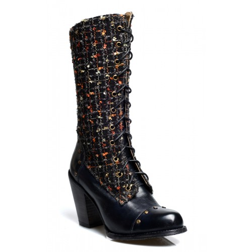 Modern Vintage Style Mid-Calf Leather Boots in Black Rustic