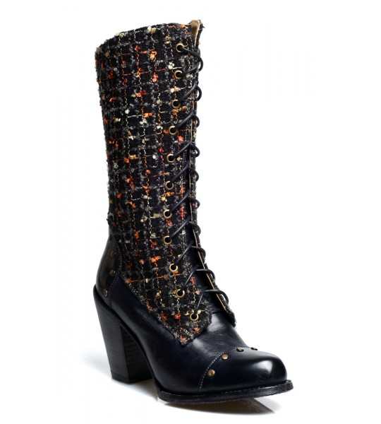 Alice Modern Vintage Style Mid-Calf Leather Boots in Black Rustic by Oak Tree Farms