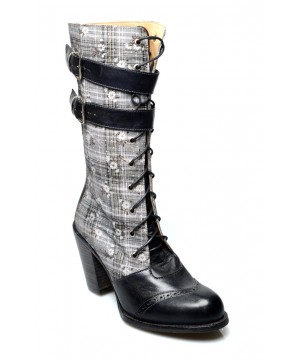 Arabella Steampunk Style Mid-Calf Leather Black Boots by Oak Tree Farms