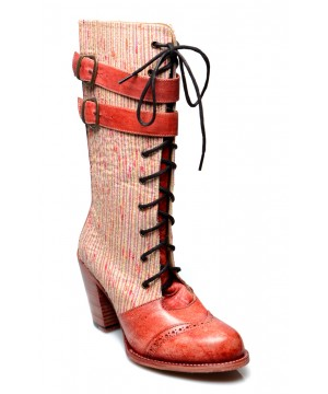 Arabella Steampunk Style Mid-Calf Leather Red Boots by Oak Tree Farms