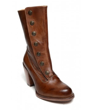 Steampunk Style Mid-Calf Leather Boots in Tan Rustic by Oak Tree Farms
