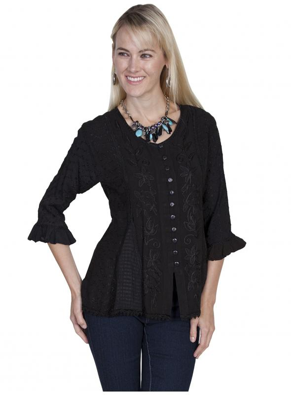 Honey Creek Cowgirl Multi-Fabric Blouse in Black by Scully Leather