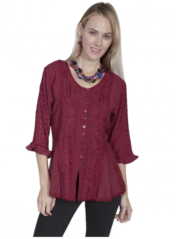 Honey Creek Cowgirl Multi-Fabric Blouse in Burgundy by Scully Leather