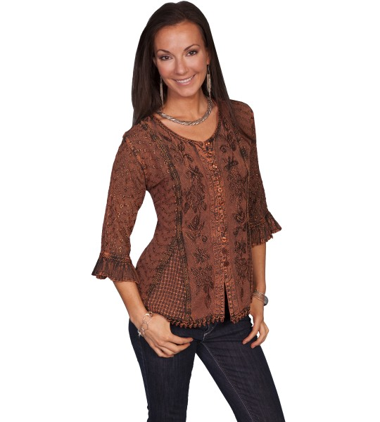 Honey Creek Cowgirl Multi-Fabric Blouse in Copper by Scully Leather