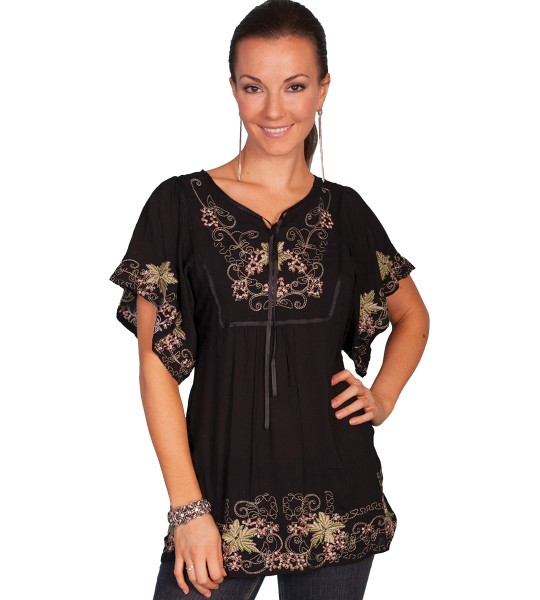 Honey Creek Western Inspired Embroidered Tunic in Black by Scully Leather