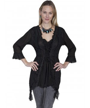 Honey Creek Horse Riding Lace Top in Black by Scully Leather