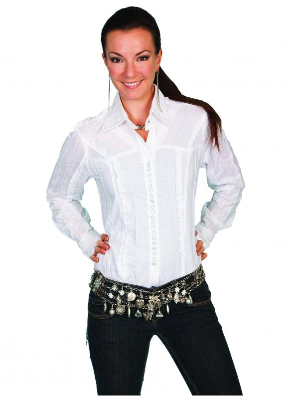 Honey Creek Country Chic Cotton Blouse in White by Scully Leather