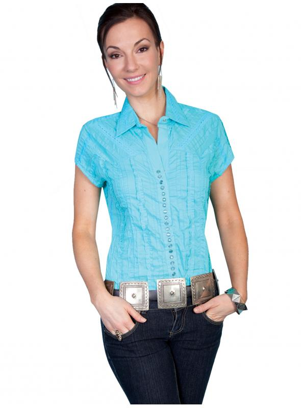 Honey Creek Country Chic Cotton Cap Sleeve Blouse in Turquoise by Scully Leather