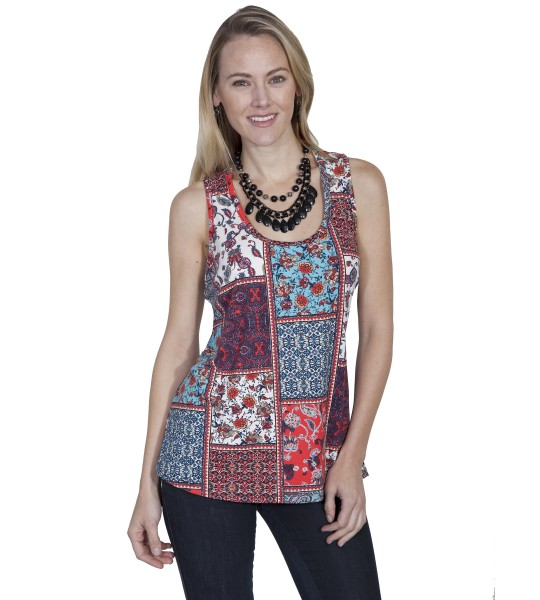 Honey Creek Prairie Colorful Tank in Multi by Scully Leather