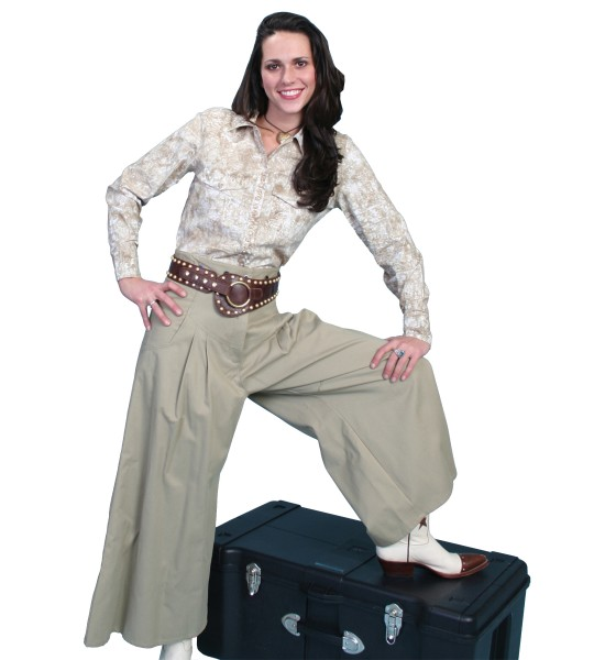 Rangewear Cowgirl Horse Riding Shortened Trousers in Tan by Scully Leather