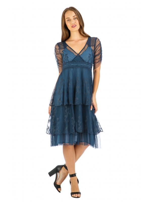 Age of Love Zoey AL-237 Vintage Style Party Dress in Indigo by Nataya