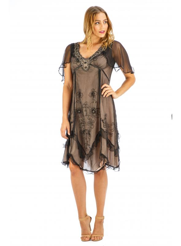 Age of Love Jacqueline AL-241 Vintage Style Party Dress in Onyx by Nataya