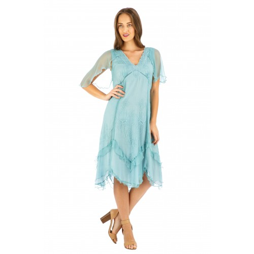 Jacqueline Vintage Style Party Dress in Turquoise by Nataya