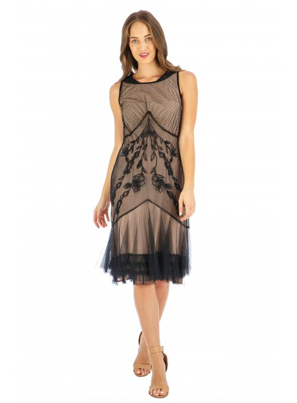 Age of Love Tatianna AL-428 Vintage Style Party Dress in Onyx by Nataya