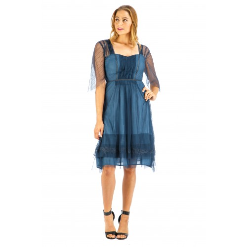 Chloe Vintage Style Party Dress in Indigo by Nataya