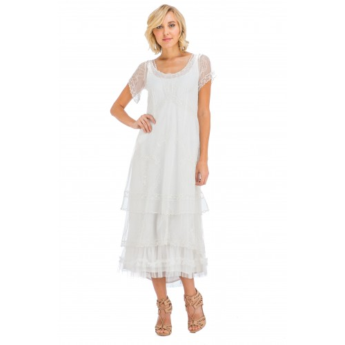 Arrianna Vintage Style Party Dress in Ivory by Nataya